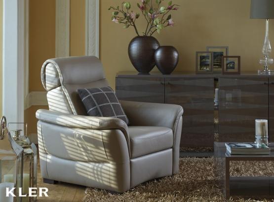 KLER zestaw Fantasia sofa z f/spania + fotel z relakserem