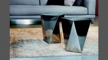 Vibieffe 9500 Tavolino 110, 063, 064, tavolino a prisma in acciaio